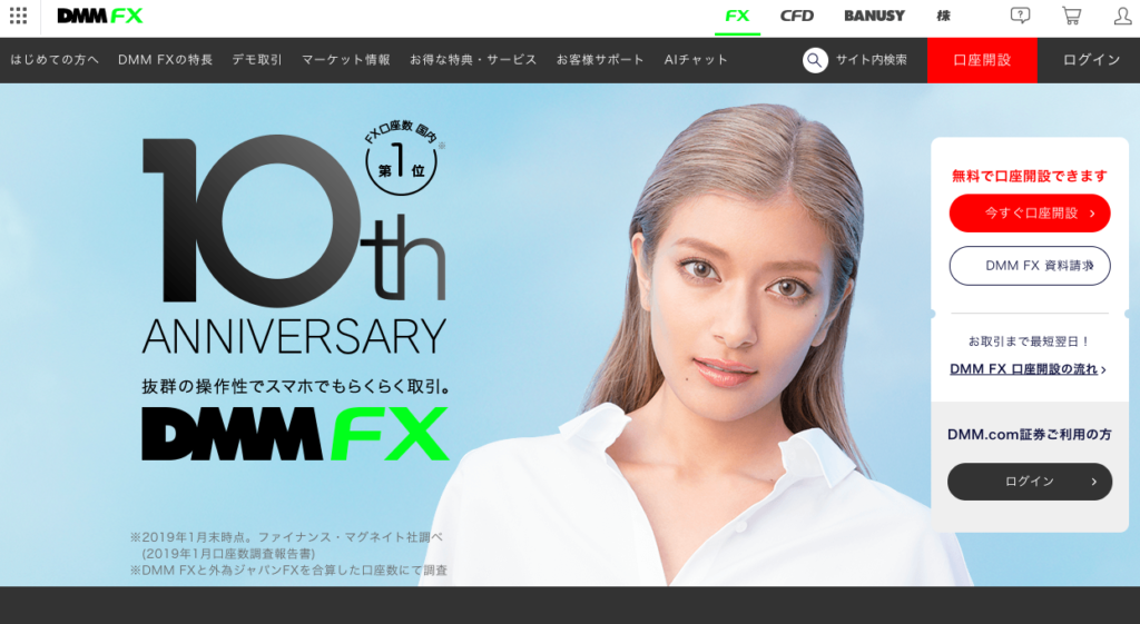 DMM FX ホームページ画像